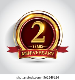 2nd  golden anniversary logo, two years birthday celebration with ring and red ribbon isolated on white background