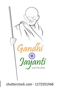 2nd October. Gandhi Jayanti. Abstract sketch of Mahatma Gandhi with inscription in shape of the Indian flag. Vector illustration.