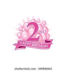 2nd pink happy birthday logo with balloons and burst of light