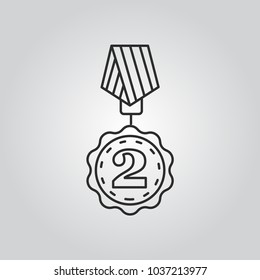 2nd place. silver medal vector icon