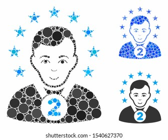 2nd prizer sportsman composition of round dots in different sizes and color tints, based on 2nd prizer sportsman icon. Vector round dots are combined into blue collage.