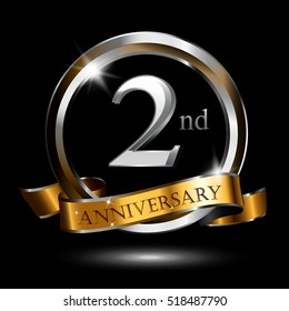 2nd silver and gold anniversary logo, vector celebration design with ring and ribbon.