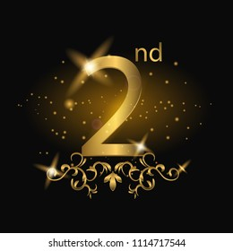2nd years anniversary celebration. 2nd anniversary logo with gold color, foil, sparkle