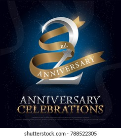 2nd years anniversary celebration silver and gold logo with golden ribbon on dark blue background. vector illustrator