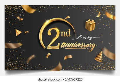 2nd years anniversary design for greeting cards and invitation, with balloon, confetti and gift box, elegant design with gold and dark color, design template for birthday celebration.