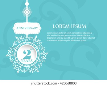 2nd years anniversary label and sign with vintage background