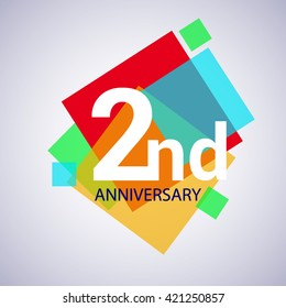 2nd years anniversary logo, vector design birthday celebration with colorful geometric isolated on white background.