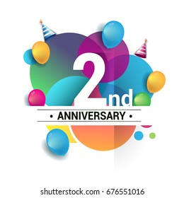 2nd years anniversary logo, vector design birthday celebration with colorful geometric, Circles and balloons isolated on white background.