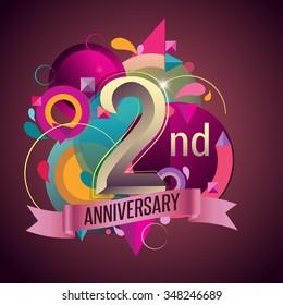 2nd years anniversary wreath ribbon logo, geometric background