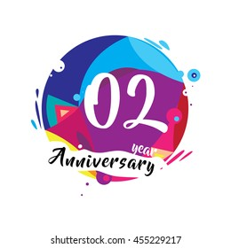 2nd years greeting card anniversary with colorful number and frame. logo and icon with circle badge and background
