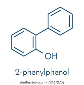 2-phenylphenol preservative molecule. Biocide used as food additive, preservative, and disinfectant.  Skeletal formula.