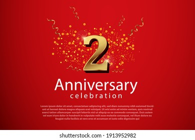 2th anniversary background with 3D number illustration