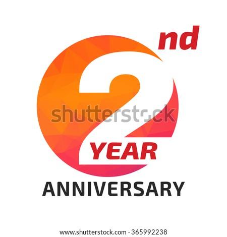 2 th anniversary logo template circle form のベクター画像素材