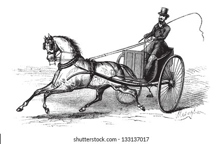 2-wheeled Cart drawn by a Single Horse, vintage engraved illustration. Le Magasin Pittoresque -  1874
