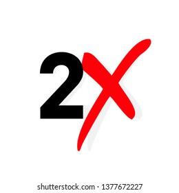 2x logo icon. X2 text letter, double faster logotype symbol.