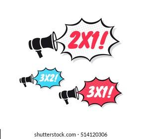 2x1, 3x2 & 3x1 Megaphone Icons