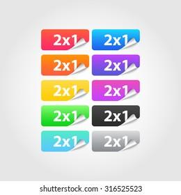 2x1 labels set