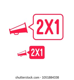 2x1 Offer Megaphone Advertisement Label