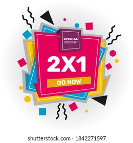 2x1 promotion banner. - Vector.