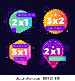 2x1 Promotion Template Banner Vector and stickers, tag