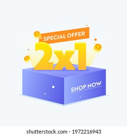 2X1 Special Offer Banner for Digital Social Media Marketing Advertising. Hot Sale, Weekend Shopping, Half Price Seasonal Discount Poster or Flyer Design, Shop Now Promotion. Vector Illustration - Shutterstock ID 1972216943