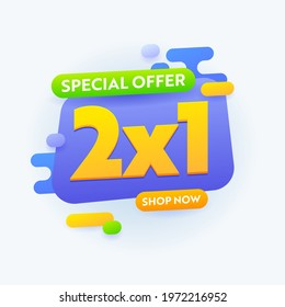 2X1 Special Offer Sale Banner Advertising, Half Price Promotional Ad Card Design for Shopping Discount, Social Media Promo Content Advert, Store Off Poster or Flyer Template. Vector Illustration - Shutterstock ID 1972216952
