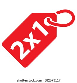 2x1 tag. Red color. Vector illustration.