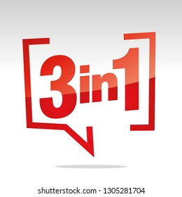 3 in 1 in brackets speech red white isolated sticker icon