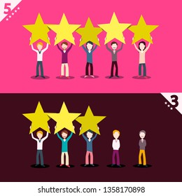 3 and 5 Rating Stars with People Holding Them - Vector feedback Icons