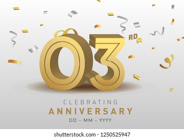 3 Anniversary gold numbers with golden confetti. Celebration 3rd anniversary event party template.
