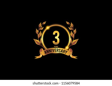 3 anniversary template design for web, Anniversary logo with ring golden colored isolated and wreath on black background