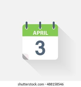 3 april calendar icon on grey background