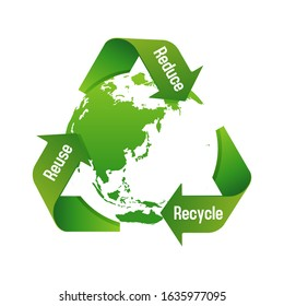 3 arrows around earth vector illustration ( recycle, ecology, 3R / recycle, reuse, reduce)