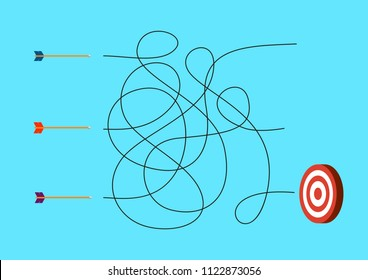 3 arrows with target. Labyrinth maze game. Vector illustration design.