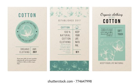 3 banners for clothing trademark in vintage style with hand drawn cotton plant. Vector illustration