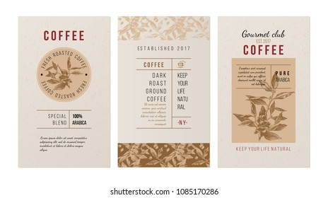 3 banners for coffee trademak in vintage style with hand drawn coffee plant. Vector illustration