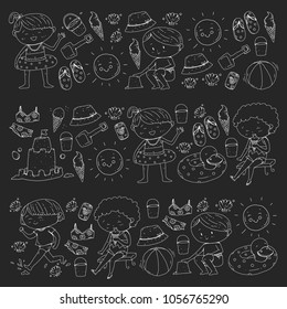 3 banners with kids on happy summer holiday. Kindergarten children. Banners, posters, doodle icons. Beach, travel adventures. Illustration on blackboard, chalkboard. Chalk picture.