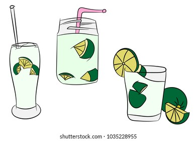 3 Beautiful Cartoon Detailed Fresh Caipirinhas Cocktail Alcohol Drink Bar Beverage Glass Ice Lime For Summer Graphic Design on White Isolated Background Vector Illustration.