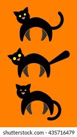 3 Black Cat Vector Icons. Alert Cat, Scaredy Cat, Sleepy Cat