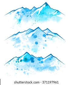 3 blue watercolor mountains borders