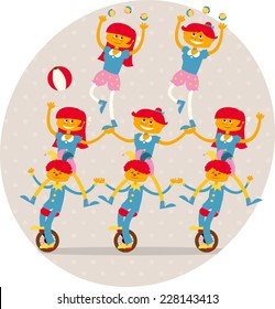 3 boys and 5 acrobats girls making an acrobatic number including mono cycle, balls and an equilibrium dance vector illustration.