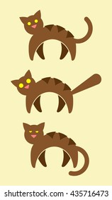 3 Brown Striped Cat Vector Icons. Alert Cat, Scaredy Cat, Sleepy Cat