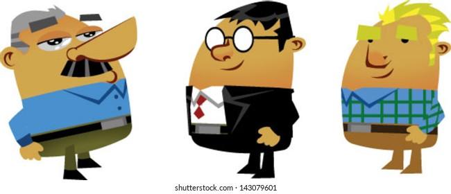 3 cartoon businessmen - Vector clip art illustration on white