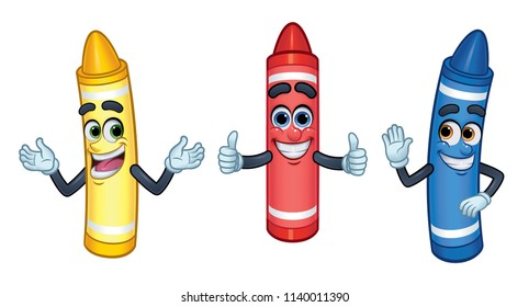 3 Cartoon Character Crayons: Red, Yellow, and Blue_Vector Illustration EPS 10
