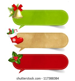 3 Christmas Speech Bubble With Gradient Mesh,  Vector Illustration