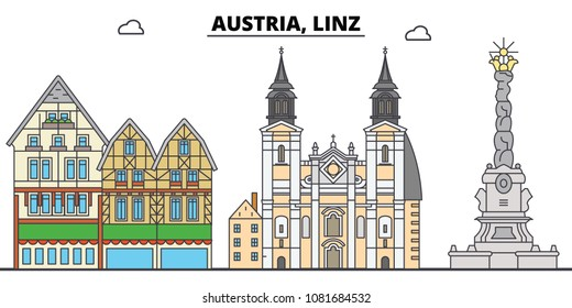 3. City skyline, architecture, buildings, streets, silhouette, landscape, panorama, landmarks. Editable strokes. Flat design line vector illustration concept. Isolated icons