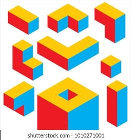 3 color Geometric 3D object optical illusion. Vector illustration, 3D cube idea, google, cloud , 3d puzzle