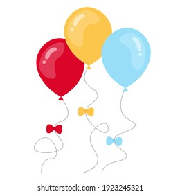 3 colorful balloons with bow vector set, flat design illustration