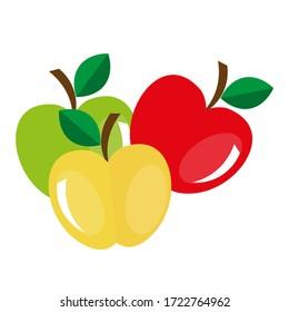 3 Farbige Apfelzeichnung
