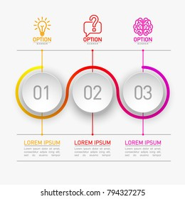 3 components make up something. Modern business circle origami style options banner. infographics vector, workflow layout, diagram, number options, Three step up options, web design